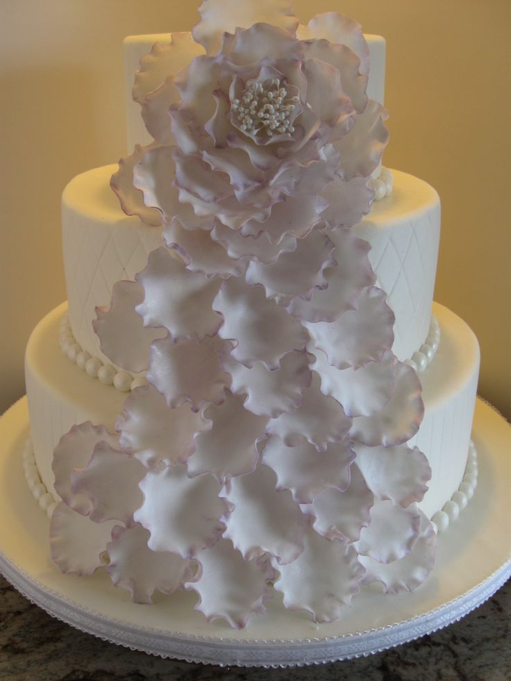lavender cascading petal wedding cake