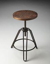 Industrial Vintage Bar Stool Swivel Metal Iron Wood Adjustable Counter Pub Seat
