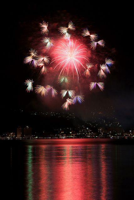 Butterfly fireworks, Lake Suwa fireworks festival, Japan