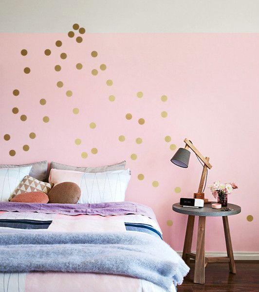 Awesome Wanddeko KONFETTI DOTS GOLD er SET Wandsticker Punkte ein Designerst ck von UrbanARTBerlin bei DaWanda