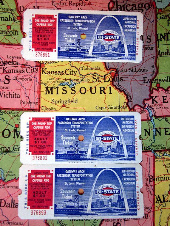 Three Vintage St. Louis Gateway Arch Passenger Transportation Souvenir Tickets, Jefferson National Expansion Memorial, Great Travel Ephemera