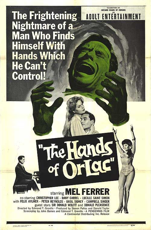 The Hands of Orlac (1960) Director: Edmond T. Gréville;  Stars: Mel Ferrer, Christopher Lee, Dany Carrel, Lucile Saint-Simon, Felix Aylmer