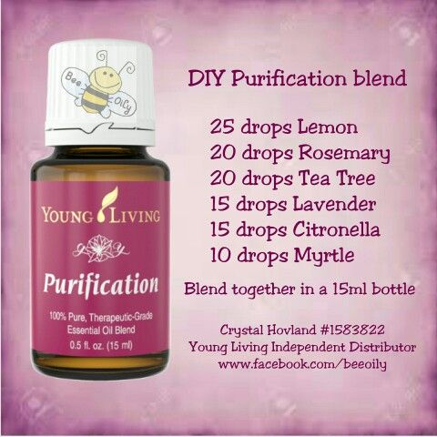 ESSENTIAL OILS DIY Purification didn't have lavender, myrtle or citronella, so used 8 drops ylang ylang & 10 drops roman chamomile