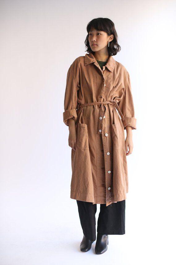 7f2f6acca9d5 Vintage Belted Almond Brown Overdye Shop Coat