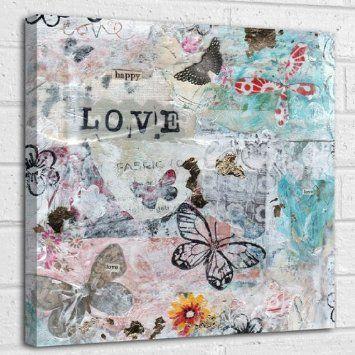 Boldog Szerelem idézet vegyes technika, vászon fal művészet