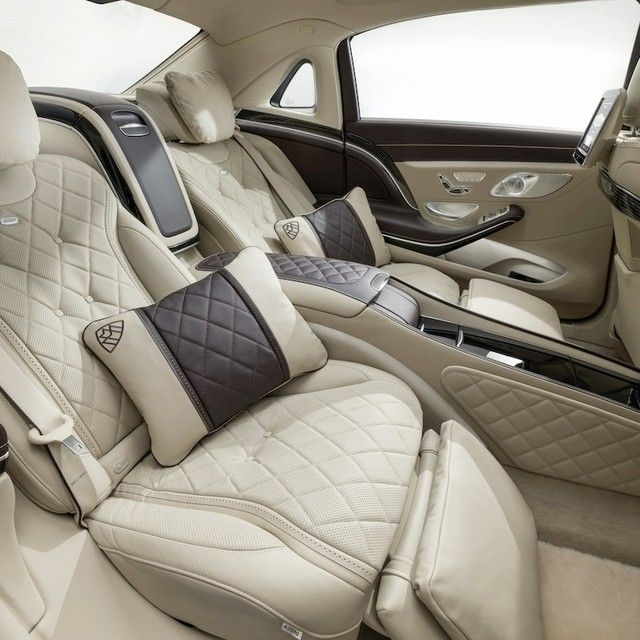 """With its massage chair function, throw pillows, powered calf supports, and a footrest, """"falling in love"""" in the backseat of the Mercedes-Maybach S600 feels more like """"floating in love."""""""