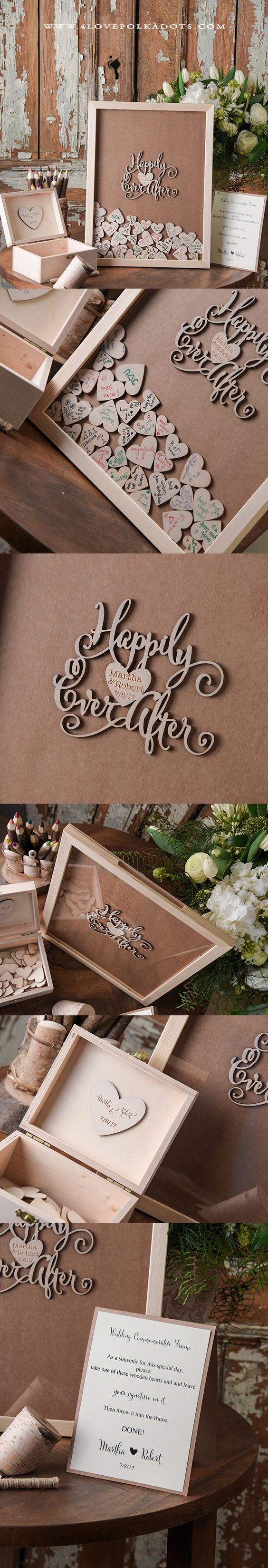 Happily Ever After ! Alternative Wooden Wedding Guest Book Frame || @4lovepolkadots