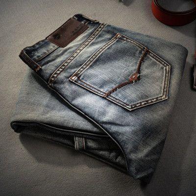 AIRGRACIAS Brand Jeans Retro Nostalgia Straight Denim Jeans Men Plus Size 28-38 Casual Men Long Pants Trousers Brand Biker Jean