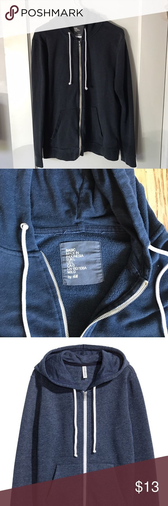 H&M Divided Men's Navy Hoodie GUC: H&M Divided men's navy blue hoodie. Size Large, fits more like a Medium. H&M Shirts Sweatshirts & Hoodies