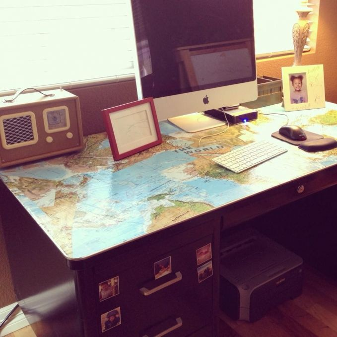 DIY Tanker Desk Decoupage