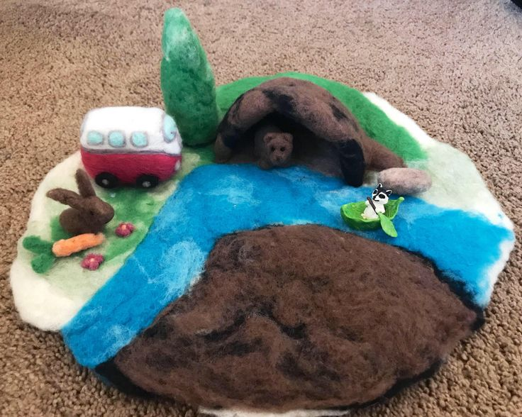 Excited to share the latest addition to my #etsy shop: Large Adorable Waldorf Inspired Play scape Wet Felted Playmat Needle Felted Animal Season Table Playmat Landscape Cave Play-Mat Pre-School #toys #children #blue #birthday #christmas #green #toddlertoy #needlefelt #feltlandscape