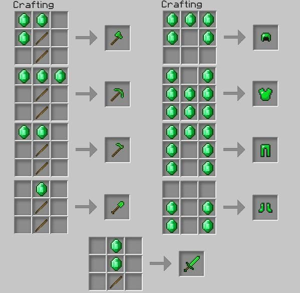 1 4 4/1 4 5] Emerald Armor, Tools & Weapons! - Minecraft Mods