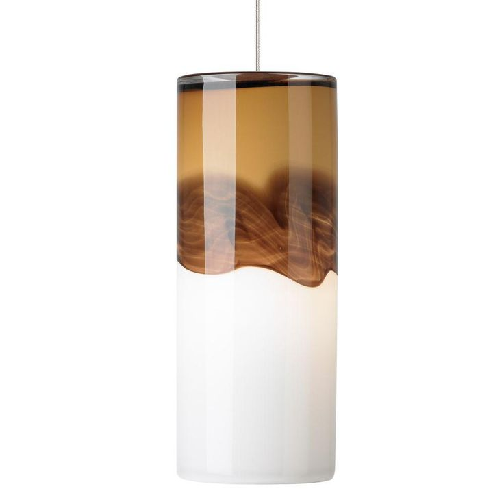 Rio 1-Light Satin Nickel LED Mini Pendant with Amber/Dark Brown Shade