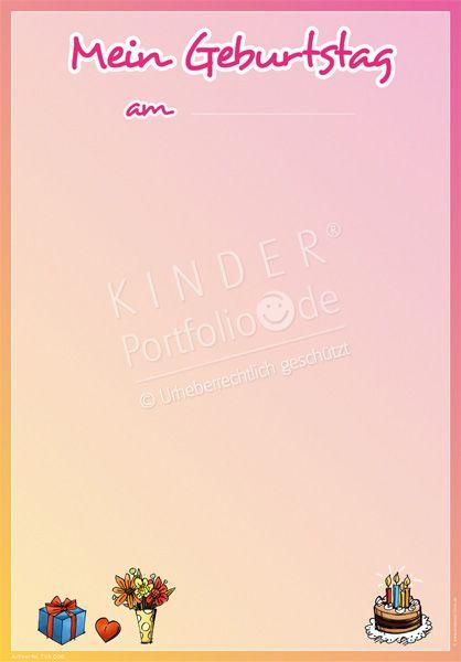 """Kindergarten Portfolio Vorlagen """"Mein Geburtstag"""""""