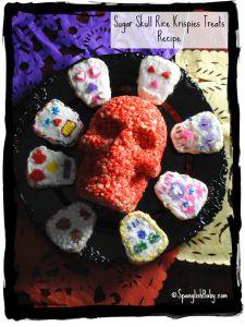 day of the dead rice crispy skulls recipe, dia de los muertos