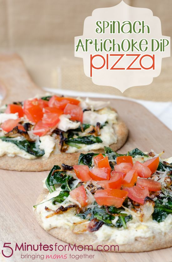 Spinach Artichoke Dip Pizza at 5MinutesForMom.com