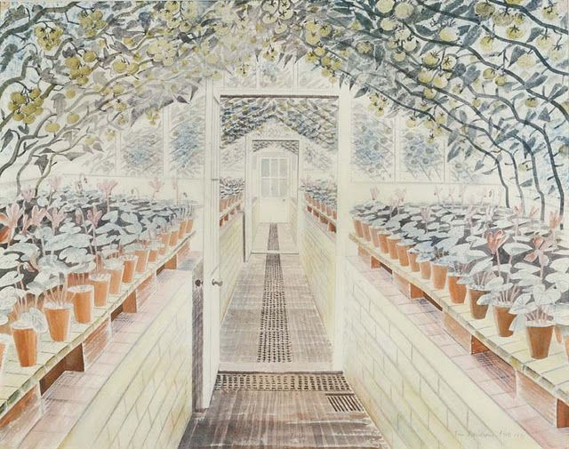 Eric Ravilious, The Greenhouse: Cyclamen and Tomatoes, 1935