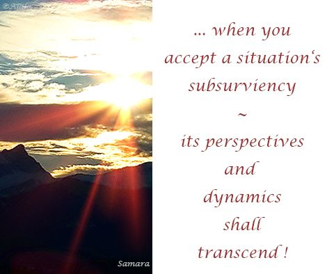 ... when you accept a situation's subsurviency ~ its #perspectives and dynamics shall #transcend !