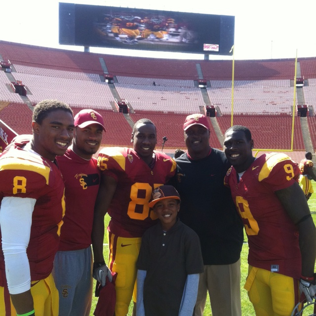 Robert Woods, Marqise Lee, George Farmer, Victor Blackwell, Kaden, and me after the spring game.. THE best WR corp in the nation!!