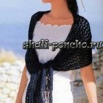 Летний черный палантин из журнала Let's Knit Series связана крючком № 2,3 из 210 г пряжи (100% хлопок; длина 218 м/50 г). Размер палантина без бахромы 150,5 х 32,5 см.