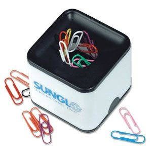 Promotional magnetic paperclip holder and other promotional office