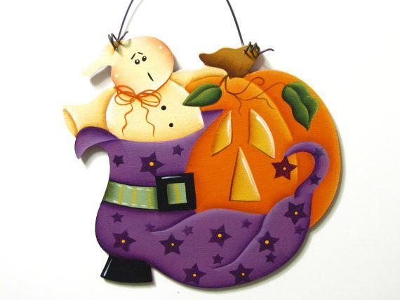Fantasma, zucca Segno, dipinto a mano, Halloween, decorazione domestica, arte della parete