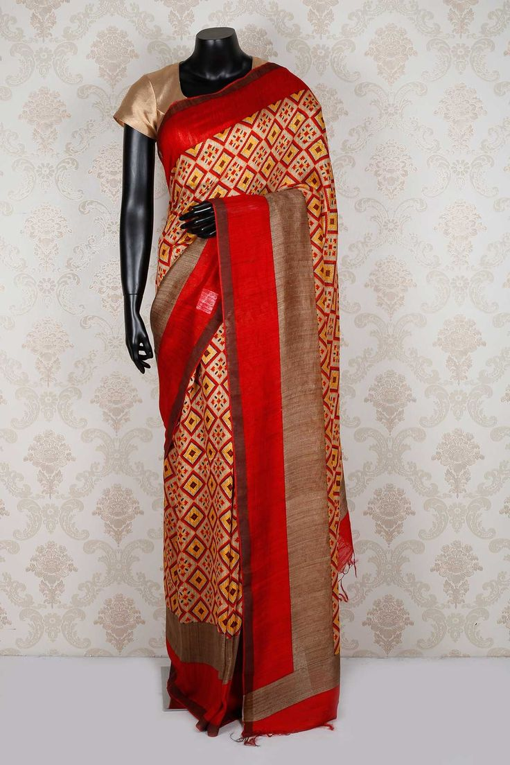 #Beige & #red pure #tussar silk glamorous saree with red & brown border -SR13935