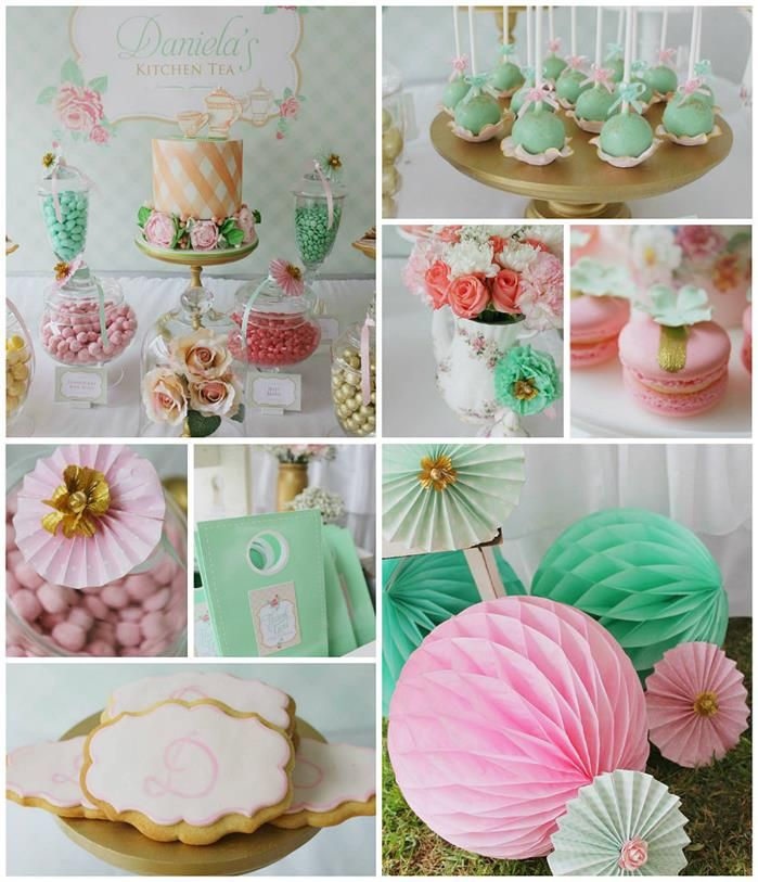 Mint pink and gold tea party with so many really cute - Deco baby shower rose ...