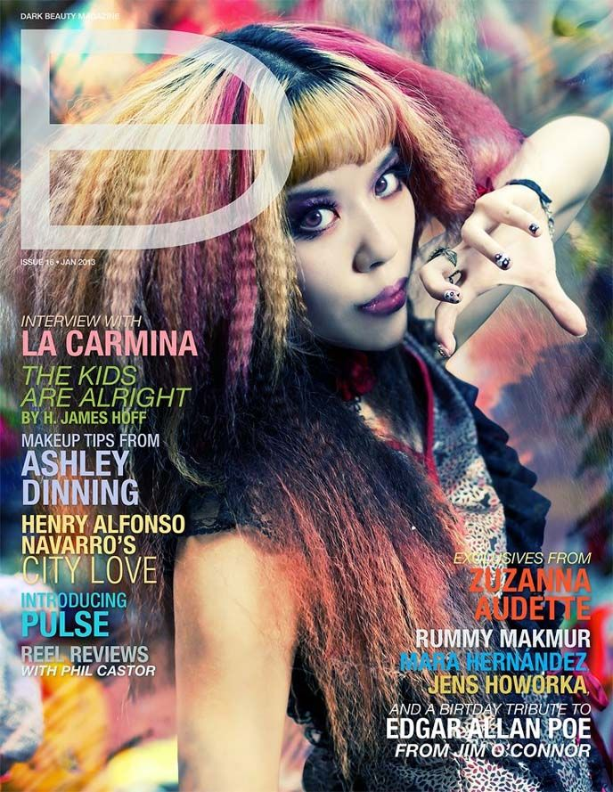 La Carmina on the COVER of Dark Beauty Magazine!! Modeling street style in the streets of Hong Kong, China. What do you think of the Gothic Lolita clothing, Goth makeup, rainbow hair & Toni and Guy hairstyling? More on LaCarmina fashion blog: http://www.lacarmina.com/blog/2013/01/cover-model-for-dark-beauty-magazine-hong-kong-gothic-lolita-photoshoot-spider-fashion-line-mongkok-modeling/ goth model, gothic modeling, alternative model, GOTHIC LOLITA brands hong kong, china gothic, goth punk