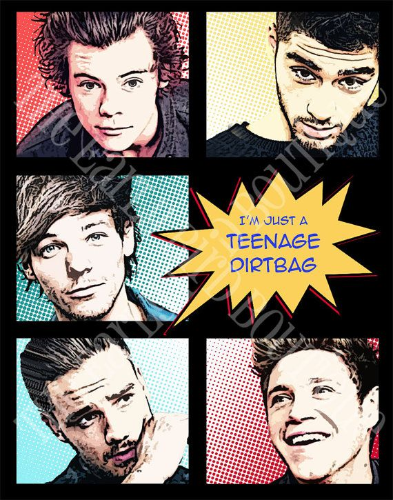 One Direction Teenage Dirtbag Comic Print 1D Harry Styles, Zayn Malik, Louis Tomlinson, Liam Payne, Niall Horan Art Poster