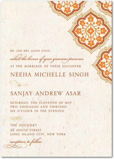 Inlaid Flowers - Signature White Textured Wedding Invitations - East Six Design - Wedding Paper Divas
