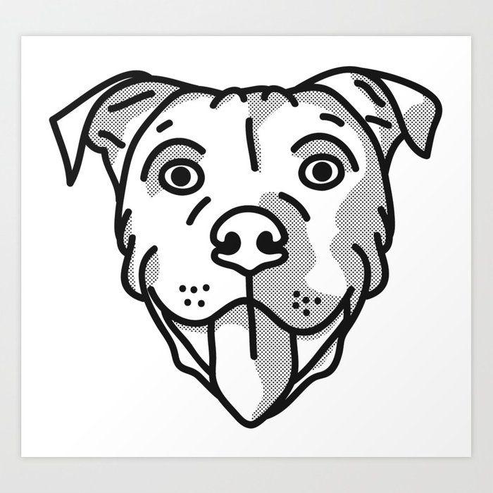 Pitbull Dog Print Black And White Halftone Art Print By Pitbull Art Halftone Art Pitbull Drawing