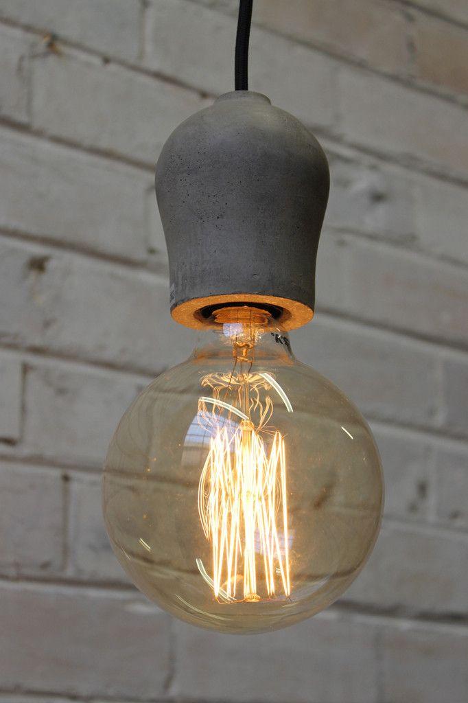 Pendant Light Cords - Concrete pendant cord with X large edison filament
