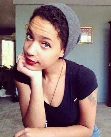 Image result for natural hair in a beanie