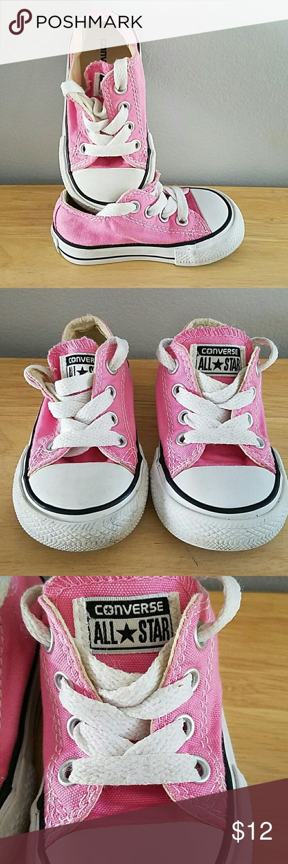 Toddler girls Converse Sneakers Toddlers Size 4   PINK Converse sneaks.   Please see pictures. Mild wear on front on left shoes. Price reflects this.   Soles and laces are clean.   Original owner, these were outgrown.   FREE GIFT WITH PURCHASE   Bundle! Save! Converse Shoes Sneakers