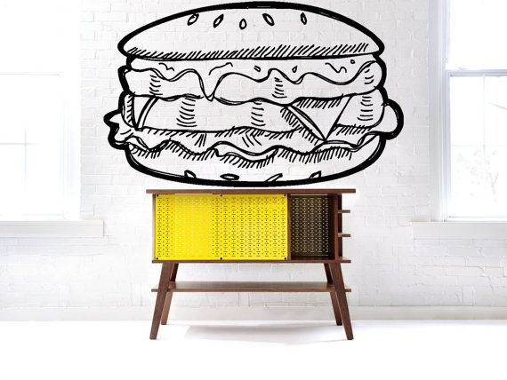 Removable Wall Decor Vinyl Sticker Mural Decal Showcase Logo Hamburger Cafe Restaurant Beef Vegetables Fast Food Burgers Window Meat F1680