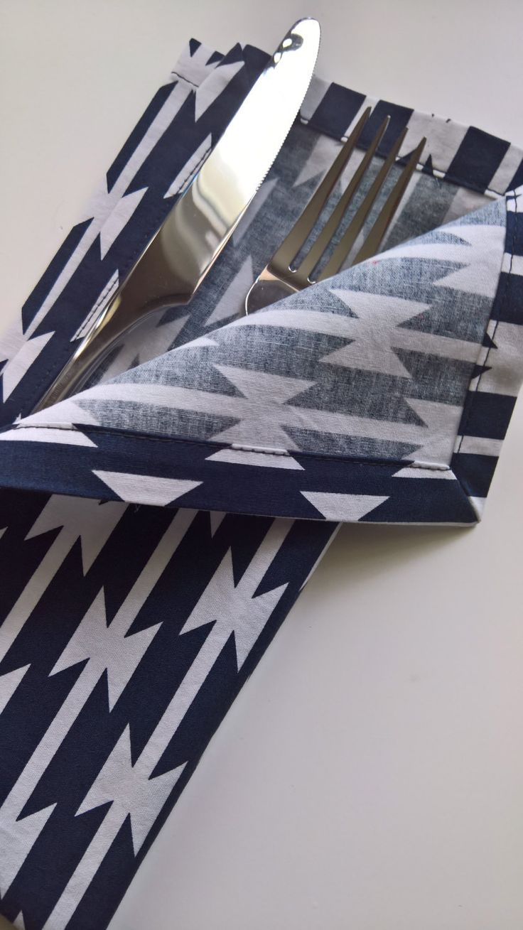 Navy and White Cloth Napkins - Navy Dinner Napkins - Navy Modern Cloth Napkins - Southwestern Cloth Napkins - Blue Napkins by 90West on Etsy