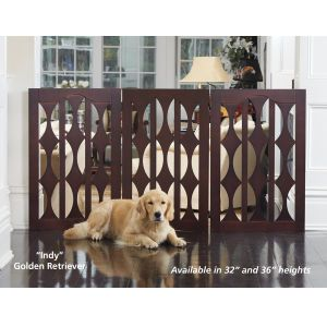 3-Panel Geo Cutout Wood Freestanding Dog Gate - Dog Beds, Gates, Crates, Collars, Toys, Dog Clothing & Gifts