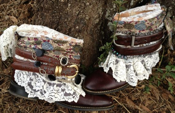 Vintage Boho Gypsy Boots size 7, Cowgirl Shannon Boots, Cowboy boots, Shabby Chic Boots//50% OFF see coupon code