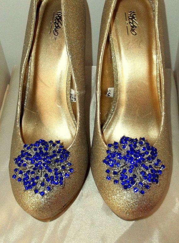 Vintage Style Sapphire Blue Rhinestone Bridal Wedding Shoe Clips