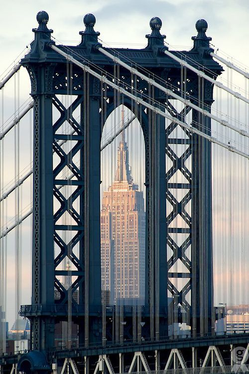 Manhattan Bridge with Empire State Building, New York