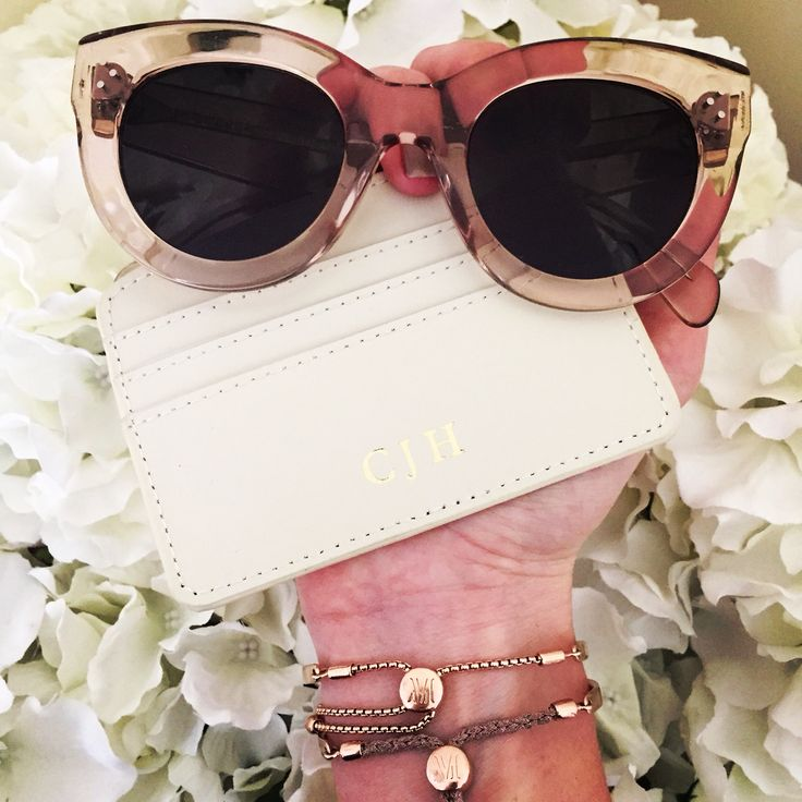 Celine Sunglasses / Cream Personalised Initial Monogram Card Holder Wallet / Monica Vinader