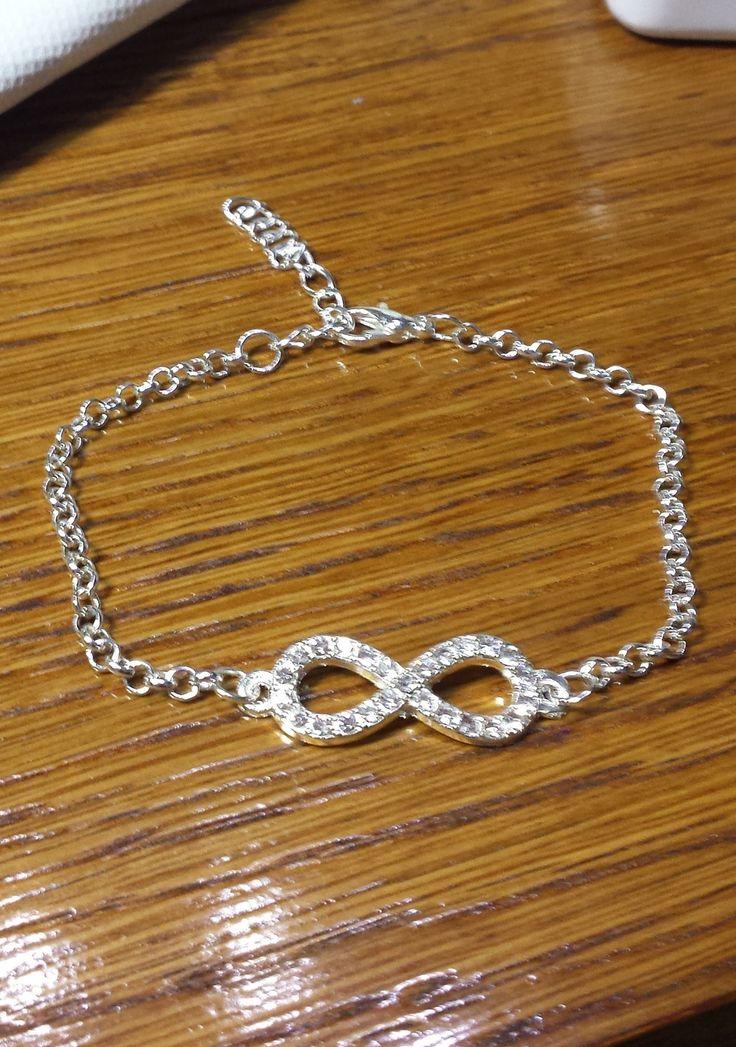 Fin bracelet argent infini strass : Bracelet par ma-passion-des-bijoux