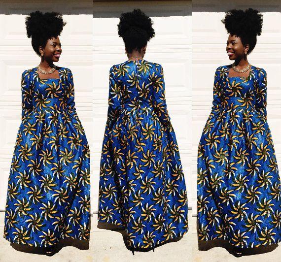 Africa ankara maxi manica lunga abito stampa di di Veroexshop