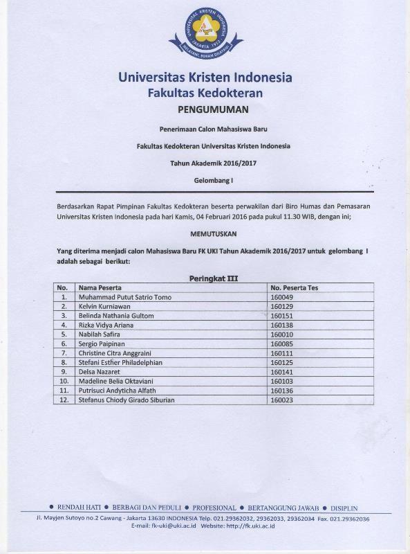 Universitas Kristen Indonesia :: hasil usm fk uki gelombang 1