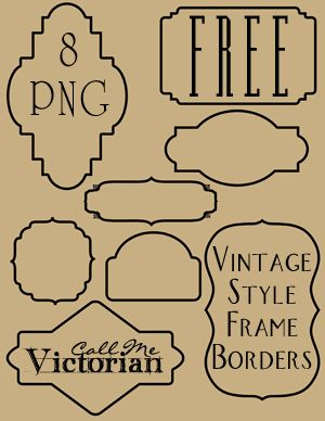 Free set of 8 frame borders that are in PNG format with a transparent background. The clipart is designed with vintage labels or bookplates in mind and can be incorporated into digital scrapbooking layouts as frames for photos. Used in blog headers or to make banners. Use as a background or decorative design element in various digital crafts.