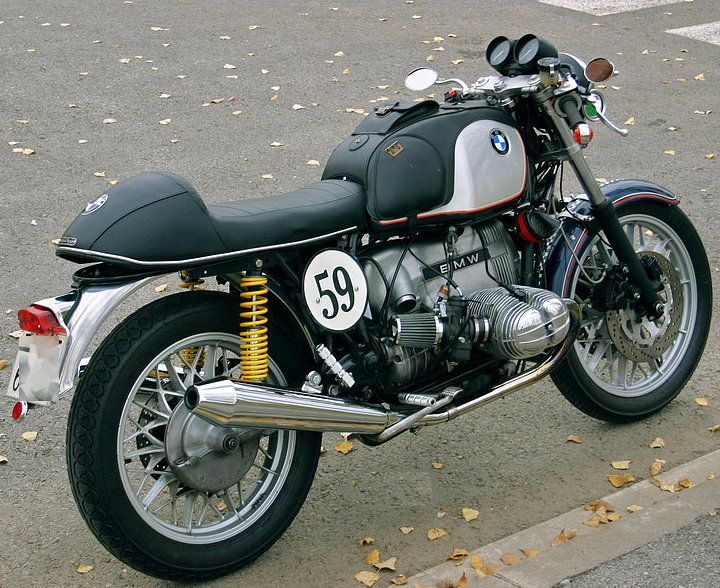 A BMW R100RS gets the cafe racer treatment. Classy.