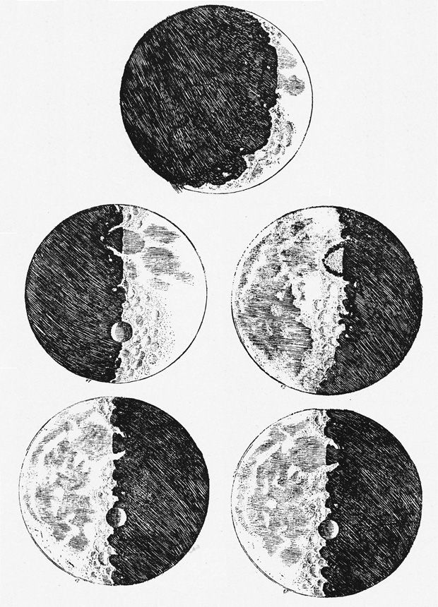 Moon Drawings (Galileo Galilei, 1610)    Aided by his telescope, Galileo's drawings of the moon were a revelation. Until these illustrations were published, the moon was thought to be perfectly smooth and round. Galileo's sketches revealed it to be mountainous and pitted with craters.
