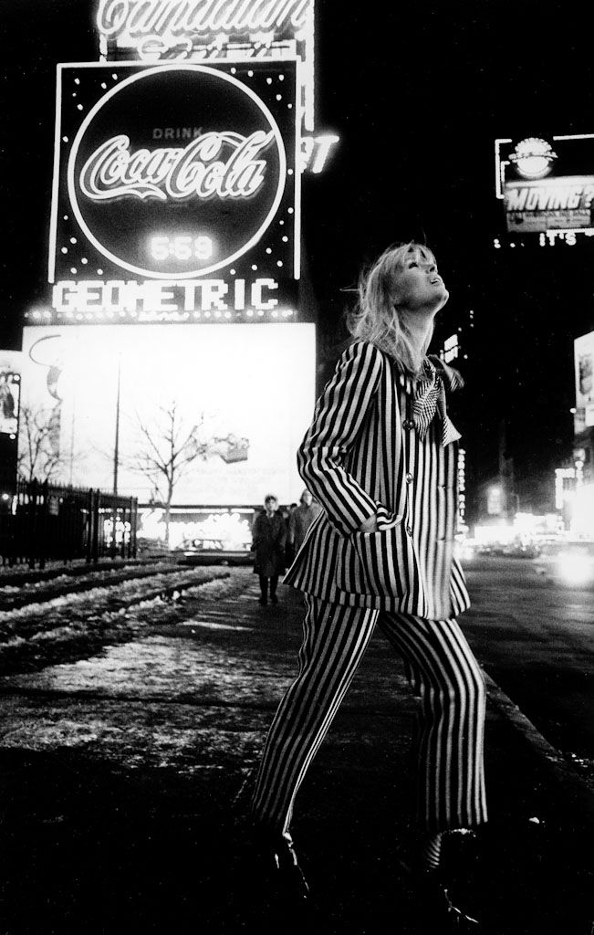 Nico in Times Square. Check out her collaboration with the Velvet Underground…