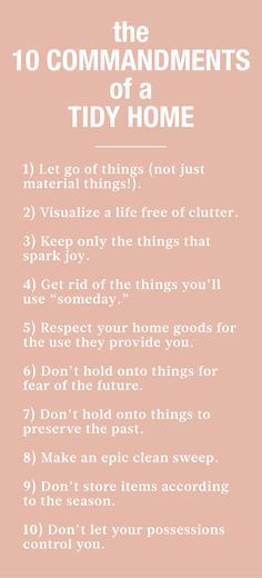 """The 10 Commandments of a Tidy Home 
